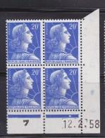 N°1011B 20f Bleu Type Marianne De Muller:  Bloc De 4 Timbres En Coins Datés Du 12.2.58 - 1950-1959