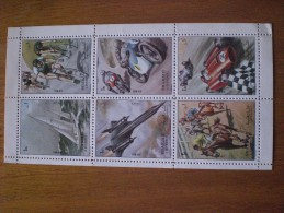 UAE, SHARJAH State,SHARJAH, Complete Sheet Of 6 Stamps 1972  CAES - Automovilismo