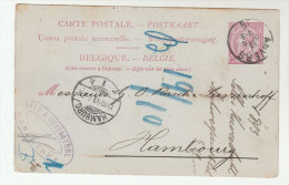 1893 BELGIUM Postal STATIONERY CARD Anvers To HAMBURG Germany Cover Stamps - Postales [1871-09]