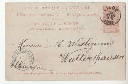 1895  BELGIUM Postal STATIONERY CARD LIEGE To WALTERSHAUSEN  Germany Cover Stamps - Postales [1871-09]