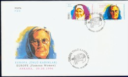 EC7-80 TURKEY 1996 FDC PHILEX 3074-3075 FAMOUS WOMEN, EUROPE CEPT. - 1996