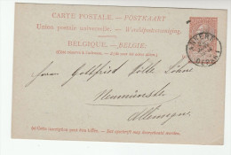 1900  BELGIUM Postal STATIONERY CARD Anvers To  Germany Cover  Stamps - Postales [1871-09]