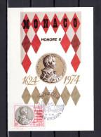 """1974 : Carte Maximum N° YT 980 """" HONORE II """". Parfait état. CM - Monete"""