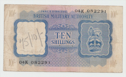 BRITISH MILITARY AUTHORITY - North Africa 10 Shillings (1943) VF Pick M5 - Military Issues