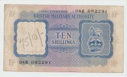 BRITISH MILITARY AUTHORITY - North Africa 10 Shillings (1943) VF Pick M5 - Autorità Militare Britannica