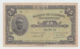 French West Africa 25 Francs 1942 VF+ Pick 30a 30 A - Altri – Africa