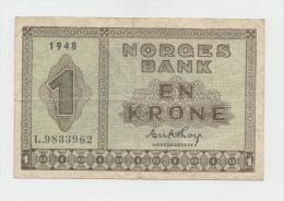 Norway 1 Krone 1948 VG++ Pick 15b 15 B - Norwegen
