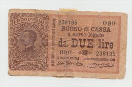 Italy 2 Lire 1914 G-VG Rare Banknote Pick 37b  37 B - [ 1] …-1946: Königreich