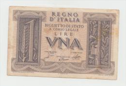 ITALY 1 Lira 1939 VF Pick 26 - [ 1] …-1946 : Kingdom
