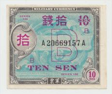 JAPAN 10 SEN 1945 VF+ Pick 63 - Japan