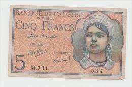 Algeria 5 Francs 2-10- 1944 AVF Banknote Pick 94b 94 B - Algeria