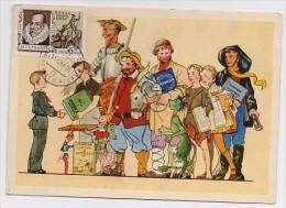 CARTE MAXIMUM CM Card USSR RUSSIA Literature Spain Writer Cervantes Don Quichotte Scout Children Pushkin Pinnocio Baller - 1923-1991 USSR