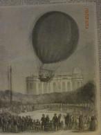 1850  Aerostat  Ballon Atmospherique Mongolfiere  Observatoire à Paris  Bixio Et Barral  Nacelle - Vieux Papiers