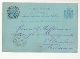 1896  NETHERLANDS Postal STATIONERY CARD MAASTRICHT 45N To OLBERNHAU  Germany Cover Stamps - Postal Stationery
