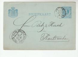 1881 NETHERLANDS Postal STATIONERY CARD Arioni Co ARNHEM 45N To KARLSRUHE  Germany Cover Stamps - Postal Stationery