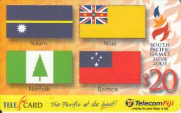 FIJI ISL. - Flags, South Pacific Games SUVA 2003, Telecom Fiji Prepaid Card $20, Exp.date 31/12/04, Used - Fidji