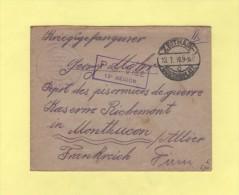 Lettre Adressee Au Depot De Prisonniers De Guerre De Montlucon - Zeithain - 1916 - Marcofilie (Brieven)