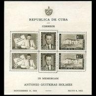 CUBA 1951 - Scott# C49a S/S Leader Guiteras LH - Unclassified