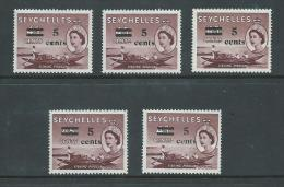 Seychelles 1957 QEII 5 Cent On 45 Cent Surcharge Single - 3 MNH , 2 MLH - Seychelles (...-1976)