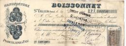 26. DROME. ST VALLIER.. 1894. PORCELAINE BOISSONNET - Lettres De Change