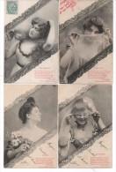 BERGERET - 4 CPA - Les Yeux, Les Cheveux, La Bouche, Le Nez -Poeme De Arrmand Gaboriaud  Aléas M. Houjan  (76672) - Bergeret