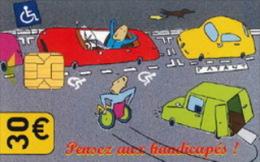 # Carte De Stationnement Pariscarte 0914 Handicapes 30 Euros - Verso 11 -tres Bon Etat - - Parkkarten