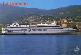 BATEAUX FERRIES CARGOS PAQUEBOTS LIGNE DE CORSE SNCM NAVIRE RAPIDE LE LIAMONE CARTE RARE - Ferries