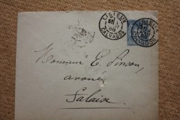 Enveloppe Affranchie Type Sage Pour Falaise Oblitération Type A Lisieux Calvados 13 - Marcophilie (Lettres)