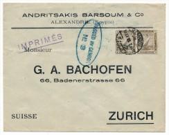 "EGYPTE - Enveloppe Depuis Alexandrie Pour Suisse - 1915 - Censure ""Passed By Censor N°3"""