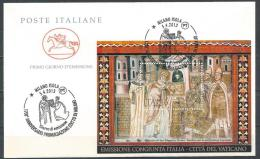 Italy. Scott # 3178 FDC S/sheet. 1700th. Anniv. Of Edict Of Milan. Joint Issue With Vatican  2013 - Emissioni Congiunte
