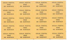 Feuille D'étiquettes Gommées COLIS POSTAL VOIE DE SURFACE - Postdokumente