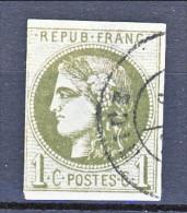 Francia, Em. Bordeaux 1870, Y&T N. 39B C. 1 Oliva Annullo A Data Nizza, Corto A Sinistra - 1870 Bordeaux Printing