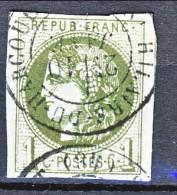 Francia, Em. Bordeaux 1870, Y&T N. 39B C. 1 Oliva Annullo A Data Saint Hilaire Du Harcouet - 1870 Bordeaux Printing