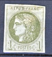 Francia, Em. Bordeaux 1870, Y&T N. 39B C. 1 Oliva MH - 1870 Bordeaux Printing