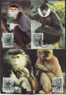 7142. Vietnam, 1987, WWF (World Wide Fund For Nature), Monkeys, CM - Viêt-Nam