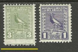 URUGUAY 1927 Michel 338 & 340 Kiebitz Incl Perforation Abart Variety * - Uruguay
