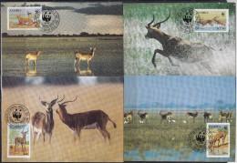 7144. Zambia, 1987, WWF (World Wide Fund For Nature), Black Lechwe, CM - Zambia (1965-...)