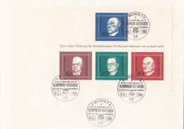 BRD Block 4, FDC, Gestempelt: BONN, 1. Todestag Konrad Adenauer 1968 - Bloques