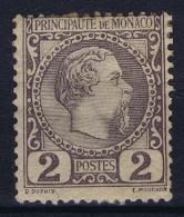 Monaco: 1885 Yv Nr 2 MH/*  Has No Thin Spot, Piece Of Paper - Neufs