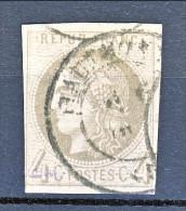 Francia, Em. Bordeaux 1870, Y&T N. 41B C. 4 Grigio Annullo A Data - 1870 Bordeaux Printing