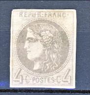 Francia, Em. Bordeaux 1870, Y&T N. 41B C. 4 Grigio MH - 1870 Bordeaux Printing