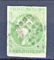 Francia, Em. Bordeaux 1870, Y&T N. 42B C. 5 Verde Giallo Annullo Rombo Muto, Difettoso Al Verso - 1870 Bordeaux Printing