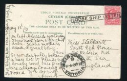 AUSTRALIA MELBOURNE CEYLON MOUNT LAVINIA MARITIME LOOSE SHIP LETTER 1910 - Postmark Collection