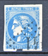 Francia, Em. Bordeaux 1870, Y&T N. 46B Report 2 C. 20 Azzurro Annullo Grosse Cifre Cat. € 75 - 1870 Bordeaux Printing