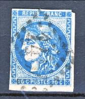 Francia, Em. Bordeaux 1870, Y&T N. 45A C. 20 Azzurro Tipo 1 Annullo Grosse Cifre 1457 - 1870 Bordeaux Printing