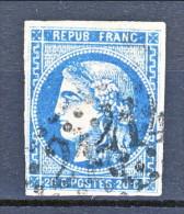 Francia, Em. Bordeaux 1870, Y&T N. 45A C. 20 Azzurro Tipo 2 Annullo Grosse Cifre 21 - 1870 Bordeaux Printing