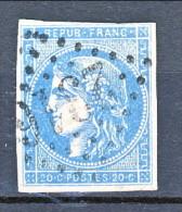Francia, Em. Bordeaux 1870, Y&T N. 45A C. 20 Azzurro Tipo 2 Annullo Grosse Cifre 2316 - 1870 Ausgabe Bordeaux