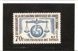 15e ANNIVERSAIRE DE LA DECLARATION DES DROITS DE L'HOMME  N° 318 *  Charnière - Unused Stamps