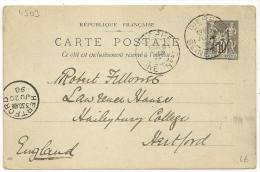 DIEPPE Seine Inférieure, Pour HERTFORD, Angleterre Sur Entier  Au Type SAGE. - 1877-1920: Période Semi Moderne