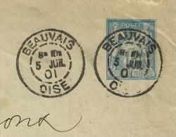 DAGUIN Horaire, BEAUVAIS Oise Sur Entier SAGE. - Marcophilie (Lettres)